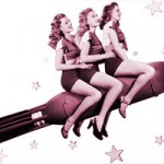 Vintage photo of three beautiful women taking off in a rocketship.