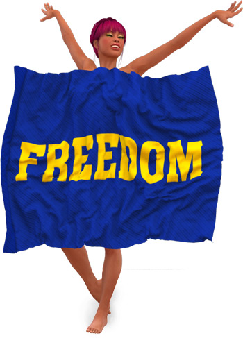 Pearl is Nude Behind a Freedom Flag